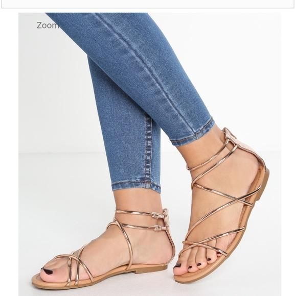 bcfb37e5b69 Sapphire Rose Gold Strappy Flat Sandals. M 5a85c7af3a112e54d39e5073